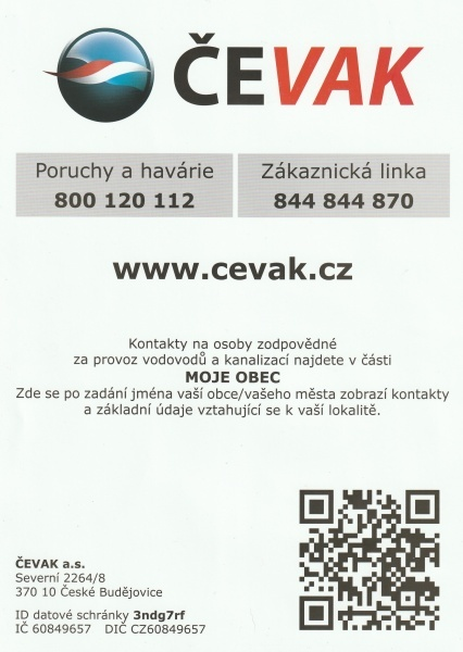 leták - kontakty ČEVAK
