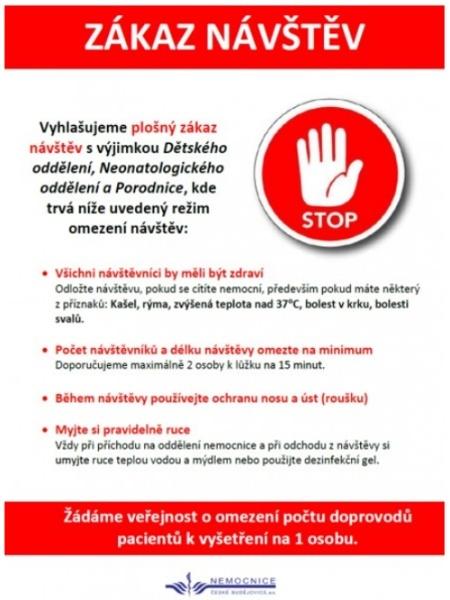 Nemocnice ČB - zákaz návštěv