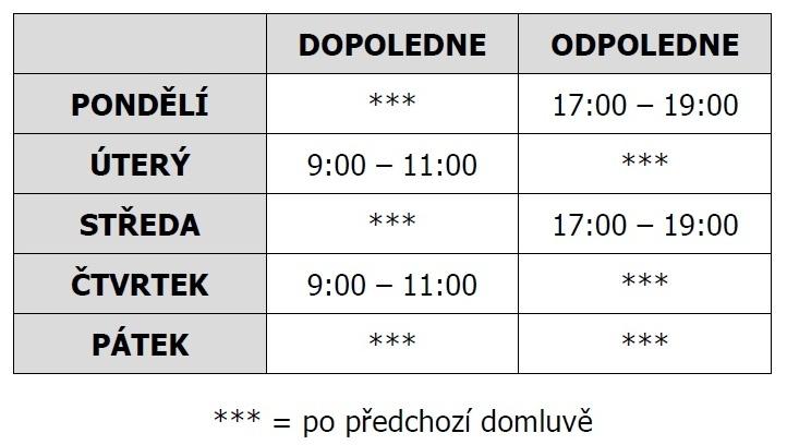Úřední hodiny obecního úřadu